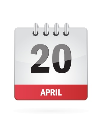 20 April Calendar Icon On White Background Vector