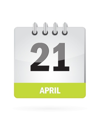 21 April Calendar Icon On White Background Vector