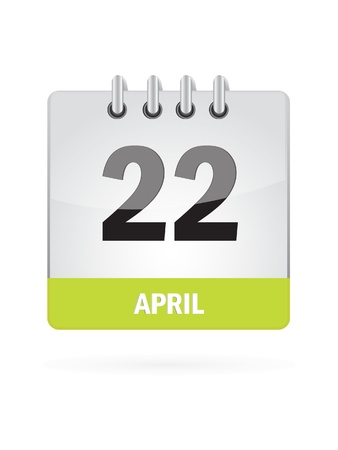 22 April Calendar Icon On White Background Vector