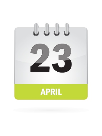 event planning: 23 April Calendar Icon On White Background