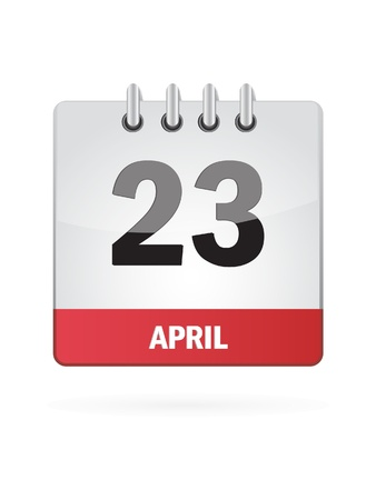 23 April Calendar Icon On White Background Vector