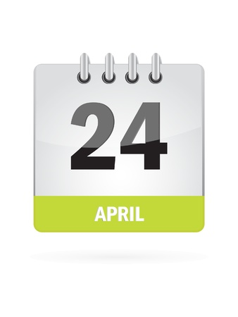 24 April Calendar Icon On White Background Stock Vector - 17882935