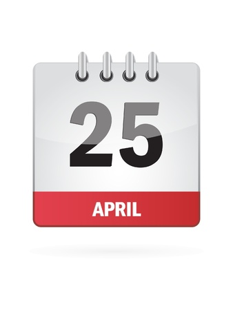 25 April Calendar Icon On White Background Vector
