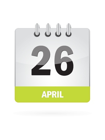 26 April Calendar Icon On White Background Vector