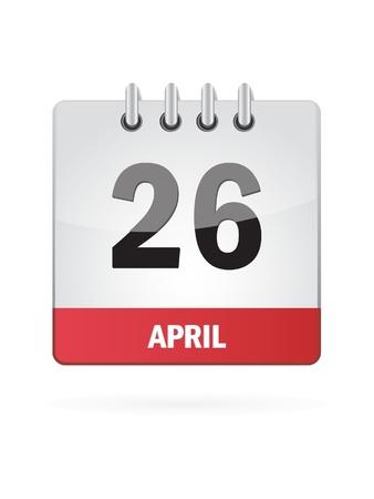 26 April Calendar Icon On White Background