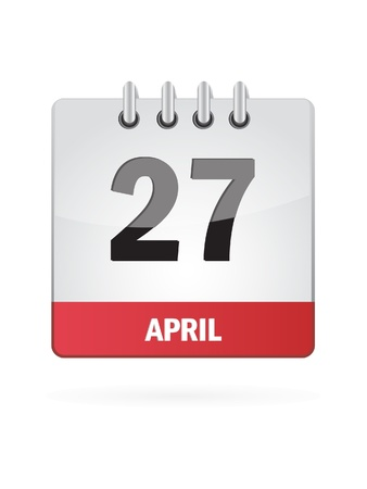 27 April Calendar Icon On White Background Vector