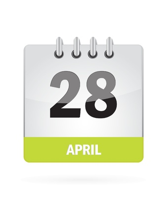 28 April Calendar Icon On White Background Vector