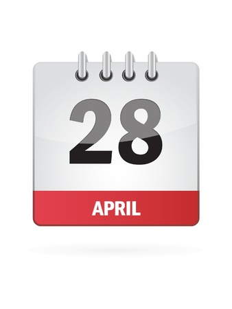 28 April Calendar Icon On White Background Stock Vector - 17883095