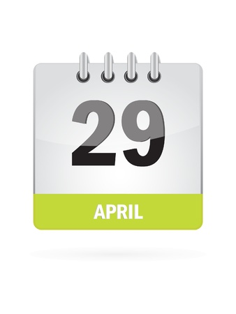 29 April Calendar Icon On White Background Vector