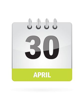 30 April Calendar Icon On White Background Vector