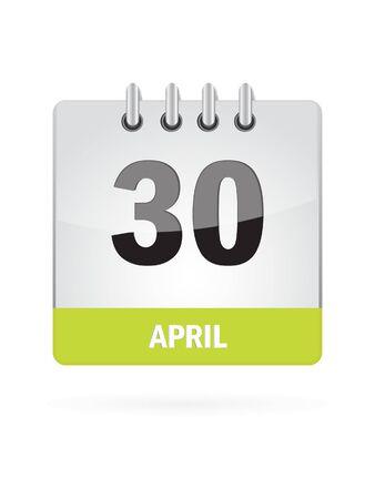 30 April Calendar Icon On White Background Stock Vector - 17883078