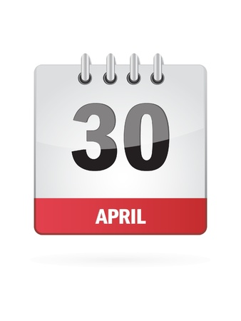 30: 30 April Calendar Icon On White Background