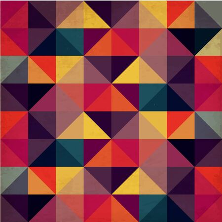 quadrat: Grunge Colorful Seamless Pattern with Triangles Illustration