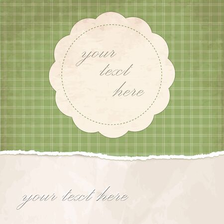 Torn paper vintage background with green plaid pattern Stock Vector - 18138650