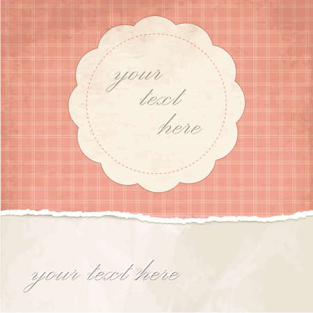 Torn paper vintage background with pink plaid pattern Stock Vector - 18138647