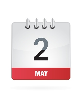 2 May Calendar Icon On White Background Vector