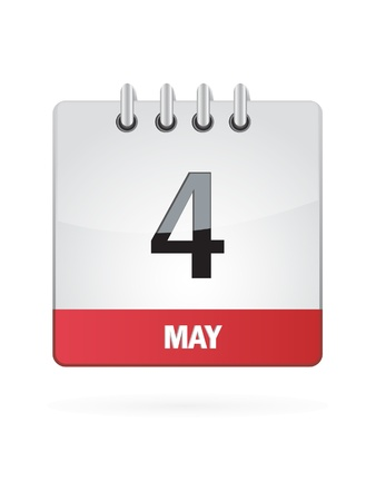 4 May Calendar Icon On White Background