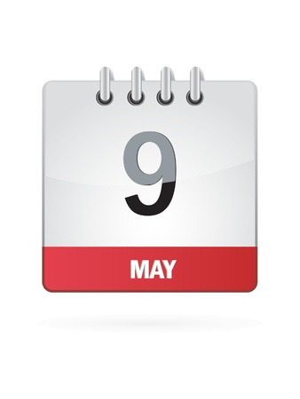 may 9: 9 May Calendar Icon On White Background