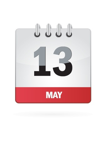 13 May Calendar Icon On White Background Vector
