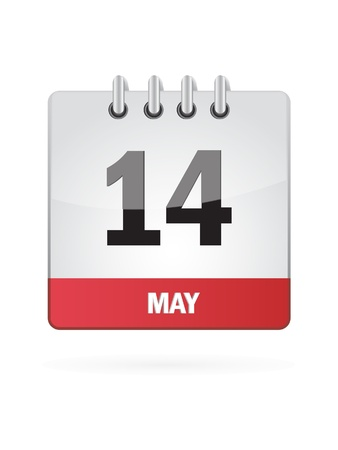 14 May Calendar Icon On White Background Stock Vector - 18392755