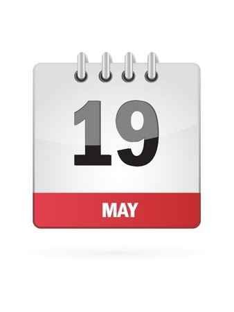 event planning: 19 May Calendar Icon On White Background Illustration