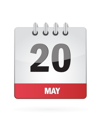 may calendar: 20 May Calendar Icon On White Background