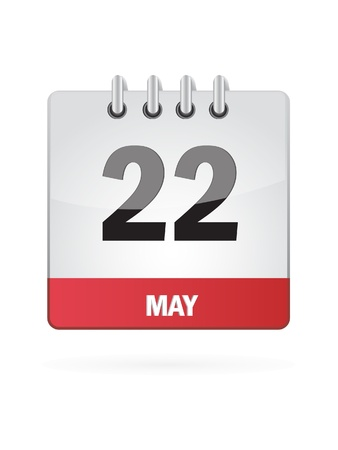 may calendar: 22 May Calendar Icon On White Background