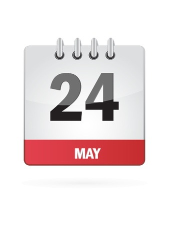 24 May Calendar Icon On White Background Vector