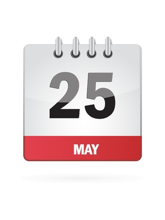 event planning: 25 May Calendar Icon On White Background