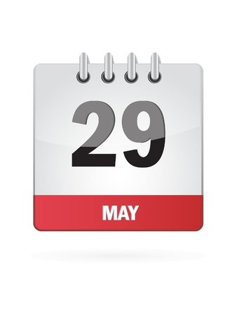 may calendar: 29 May Calendar Icon On White Background