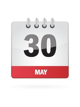 30 May Calendar Icon On White Background Illustration