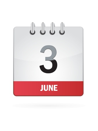 3 June Calendar Icon On White Background Stock Photo - 18456983