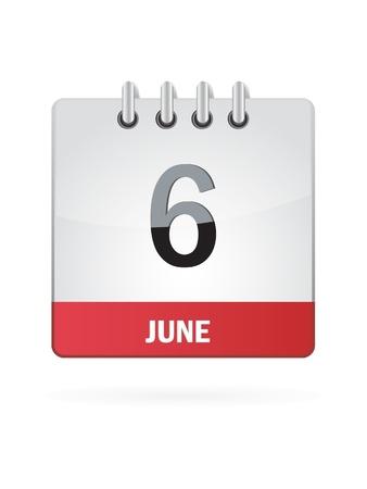 6 June Calendar Icon On White Background Stock Vector - 18456988