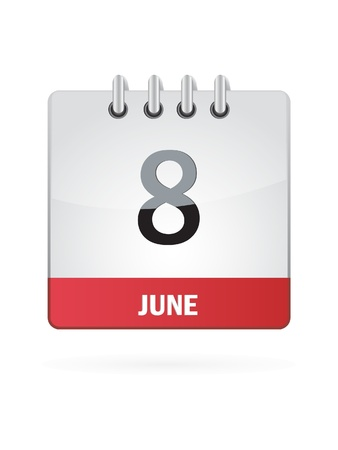 8 June Calendar Icon On White Background Vector