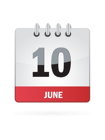 10 June Calendar Icon On White Background Stock Vector - 18457002