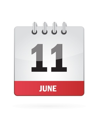 11 June Calendar Icon On White Background Stock Vector - 18456993