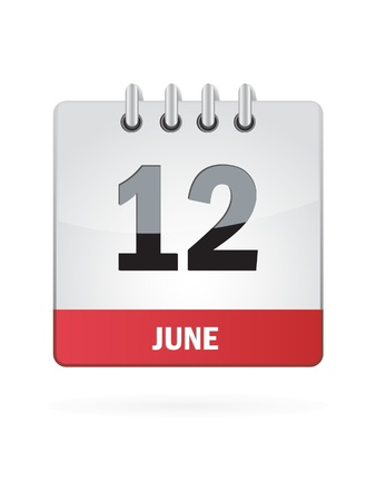 12 June Calendar Icon On White Background Stock Vector - 18456985