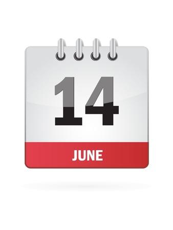 14 June Calendar Icon On White Background Stock Vector - 18456975