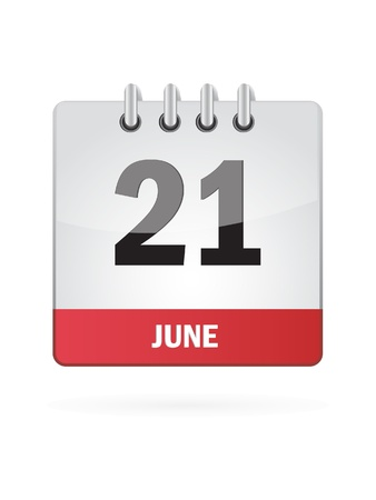 21 June Calendar Icon On White Background Stock Vector - 18456979