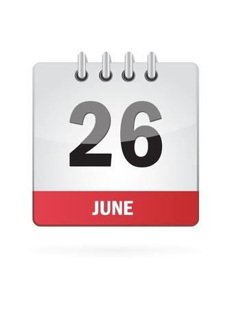 26 June Calendar Icon On White Background Stock Vector - 18457033