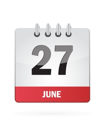 27 June Calendar Icon On White Background Vector
