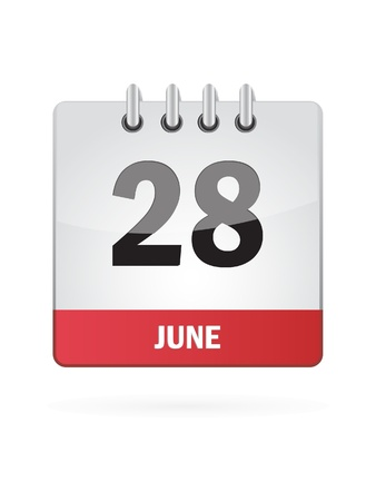 event planning: 28 June Calendar Icon On White Background