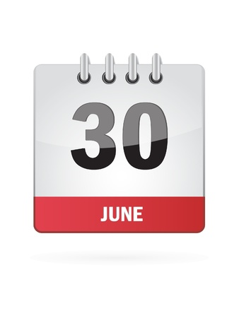 30 June Calendar Icon On White Background Vector