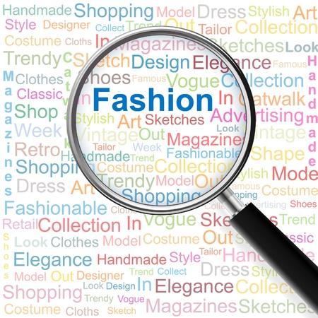 Fashion.Magnifying glass over seamless background with different association terms. Vector illustration.