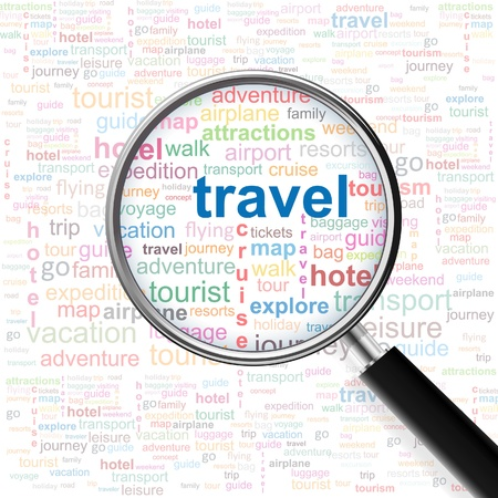 Travel. Magnifying glass over seamless background with different association terms. Vector illustration.