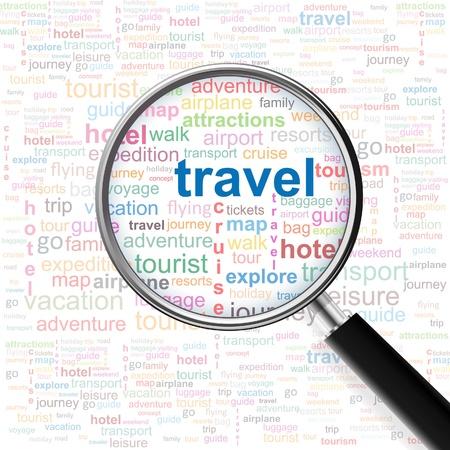 agencia de viajes: Viajar. Lupa sobre fondo transparente con términos de asociación diferente. Vector ilustración.