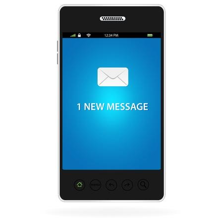 One new message on a modern smart phone  Illusztráció