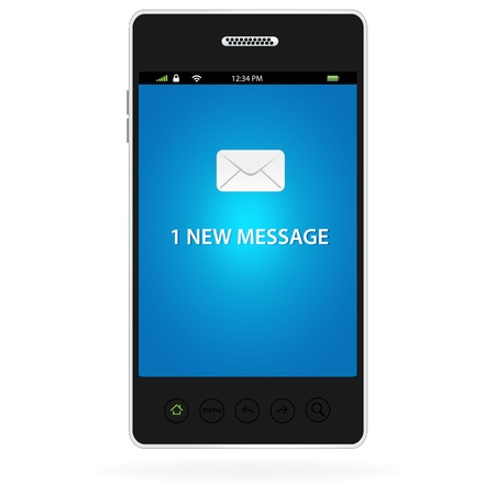 One new message on a modern smart phone  Ilustração
