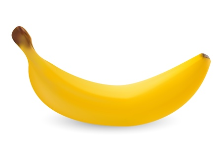 Realistic ripe banana isolated on white background Vector