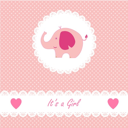 It s a girl baby with little baby elephant Vector